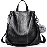 Women Backpack Purse Soft Leather Anti-theft Covertible Handbag Lightweight Waterproof School Shoulder Bag black