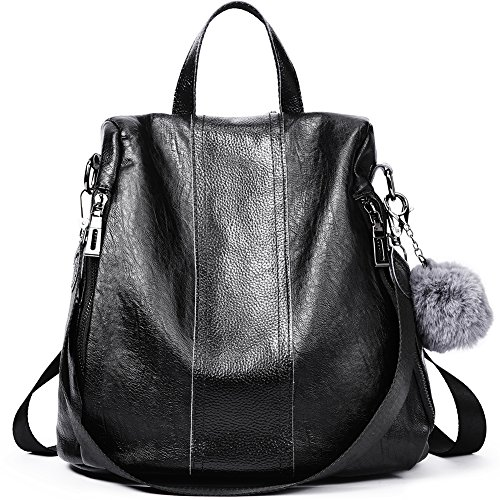 Women Backpack Purse Soft Leather Anti-theft Covertible Handbag Lightweight Waterproof School Shoulder Bag black by Cluci