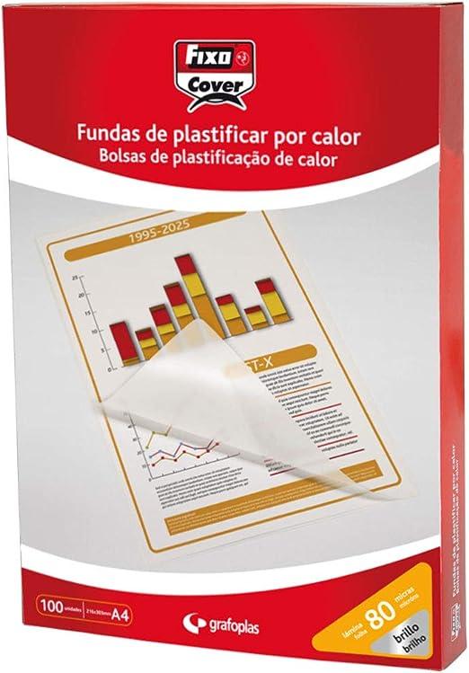 Fixo Cover 1020100 - Caja de 100 Fundas para Plastificar A4, Brillo, 216X303Mm, 80 Micras: Amazon.es: Oficina y papelería