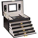 Large Jewellery Box with 4 leg sections and Lock in Black