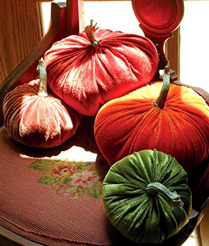 (NEW Fall Thanksgiving Harvest Decoration Set Of Four Velvet Plush Slouchy Pumpkins)