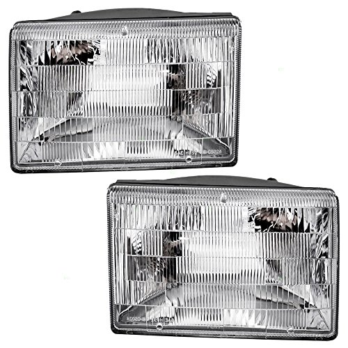 Headlights Headlamps Driver and Passenger Replacements for 93-98 Jeep Grand Cherokee SUV 55155127 55155126