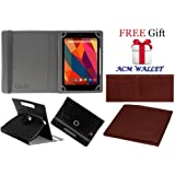 Acm Rotating Leather Flip Case For Micromax Canvas Tab P681 Tablet Cover Stand Black (FREE Acm Wallet Included)