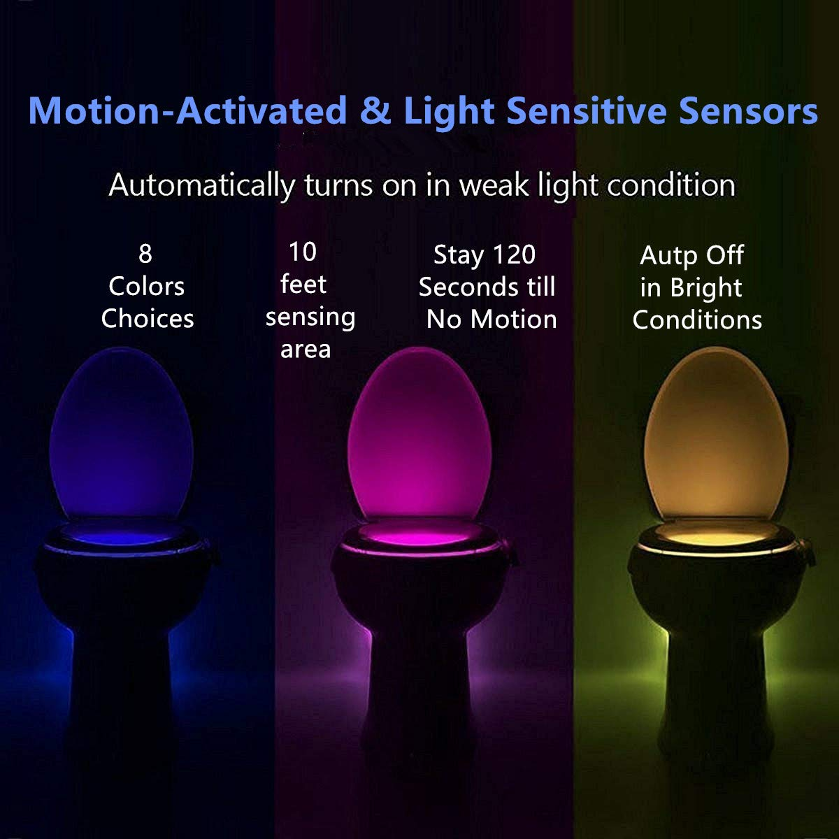 2-Pack iBetterLife Advanced LED Toilet Lights Motion Detection 8-Color Changing Inside Tolit Glow Bowl Nightlight Only Activates in Dark Human Body Infrared Auto Activated Sensor Seat Lamp Fixtures