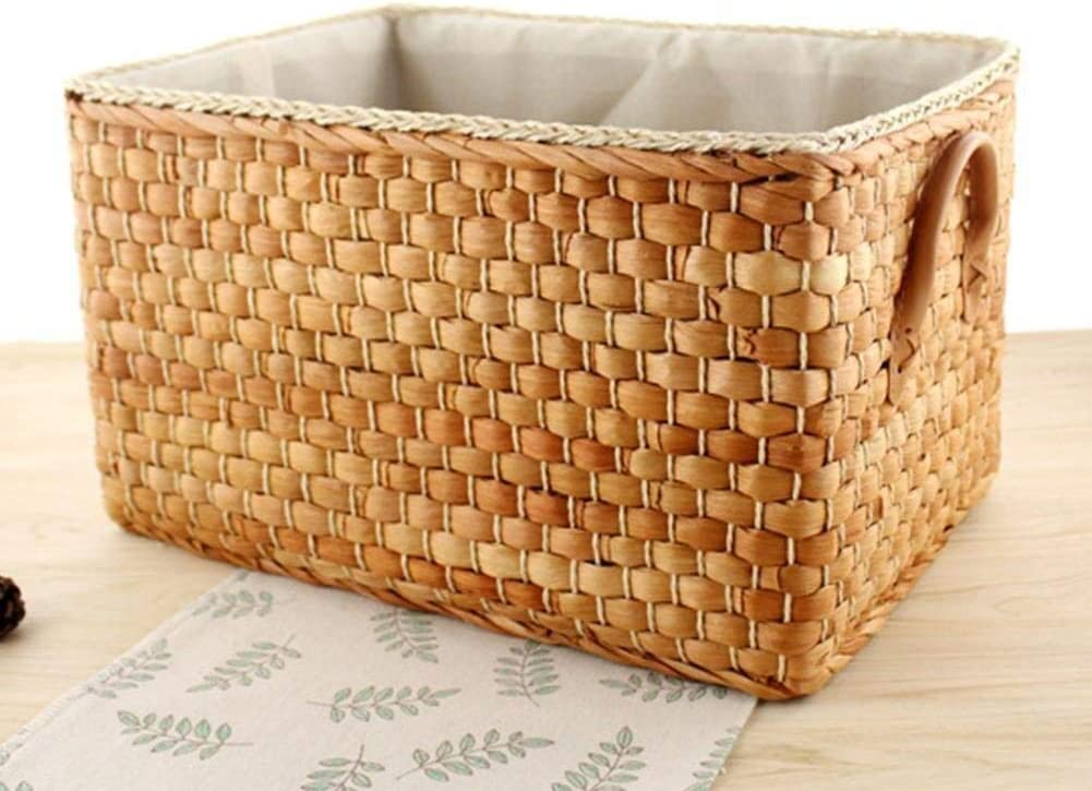 Color : Brown, Size : Large Kaimaily Storage Box Storage Baskets Japanese Garden Storage Baskets Household Debris Boxes Storage Boxes Corn Woven Baskets with Cloth Cushions and Carrying Handles