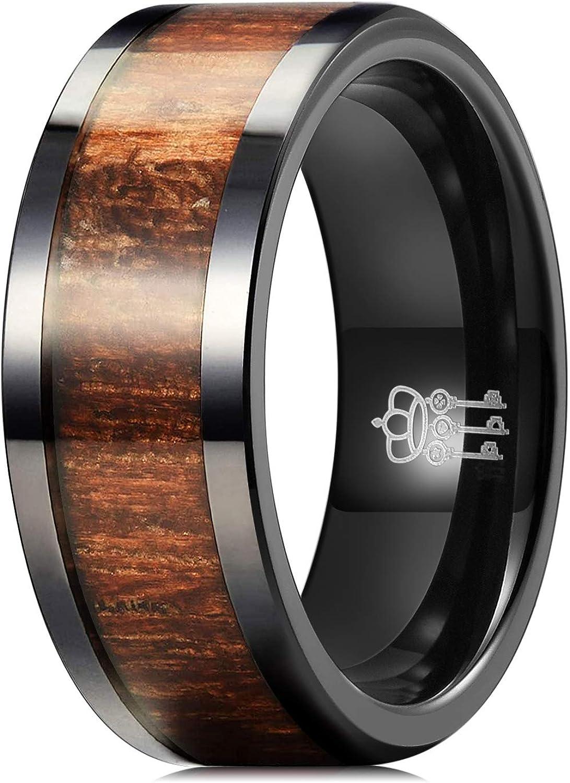 THREE KEYS JEWELRY 8MM 6MM Black Ceramic Wedding Ring with Antler Koa Wood Inlay Flat Wedding Band Ceramic Rings for Men Women