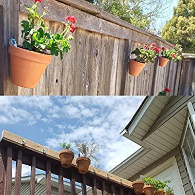 """Sumnacon Flower Pot Clips, Hard Steel Durable Plant Pot Latch Hangers Hook, Holds 5"""" to 8"""" Clay PotS, Terra Cotta Pots with A Lip Around The Edge (12) (12, Silver): Garden & Outdoor"""