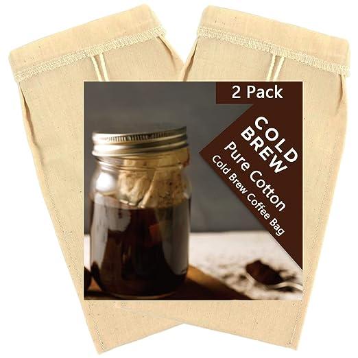 Paquete de 2 bolsas de algodón puro para café frío ...