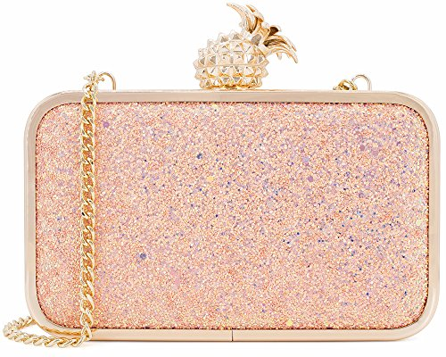 Dexmay Womens Evening Bag Bling Sequin Clutch Bag with Pineapple Clasp Glitter Clutch Purse Multi Rose