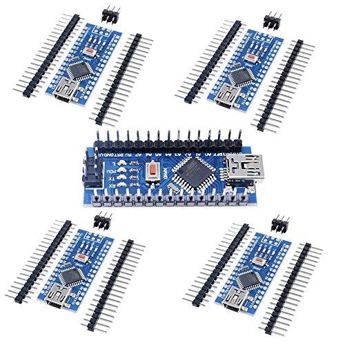 Aideepen 5PCS Nano V3.0 ATmega328 Board No Welding CH340 Mini USB 16M 5V Micro Controller Driver Development Board Module for Arduino