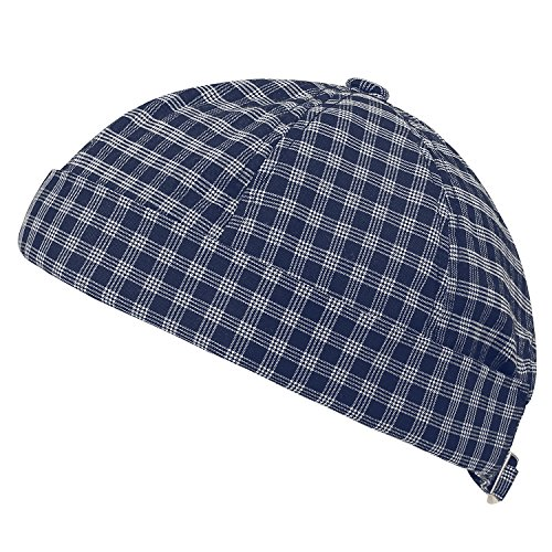 Vintage Strapback Navy Beanie ililily Hat Pattern Plaid Casual Short Cap Soft q00PaESw