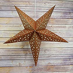 "Quasimoon PaperLanternStore.com 24"" Copper-Brown Paper Star Lantern, Hanging Decoration"
