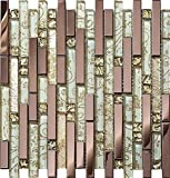 Luxury Rose Gold Stainless Steel And Foil Glass Linear Mosaic Tiles for Kitchen Backsplash/Bathroom decor,SA047-40 (Box of 10.76 sq ft)