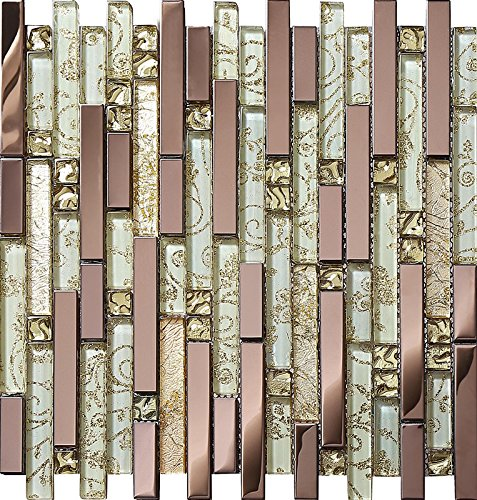 Luxury Rose Gold Stainless Steel And Foil Glass Linear Mosaic Tiles for Kitchen Backsplash/Bathroom decor,SA047-40 (Box of 10.76 sq ft) by LANDS GLASS METAL TILES (Image #6)