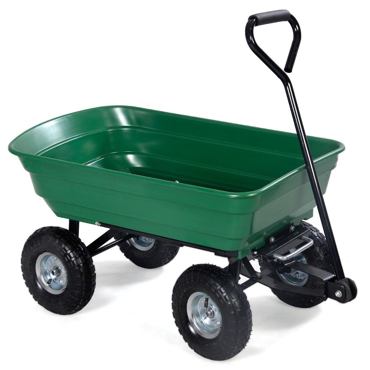 Garden Dump Cart Dumper Wagon Carrier Wheel Barrow Air Tires Heavy Duty 650LB