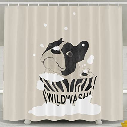 French Bulldog Bathroom Shower Curtain Waterproof Bath Decorations Decor Sets With Hooks