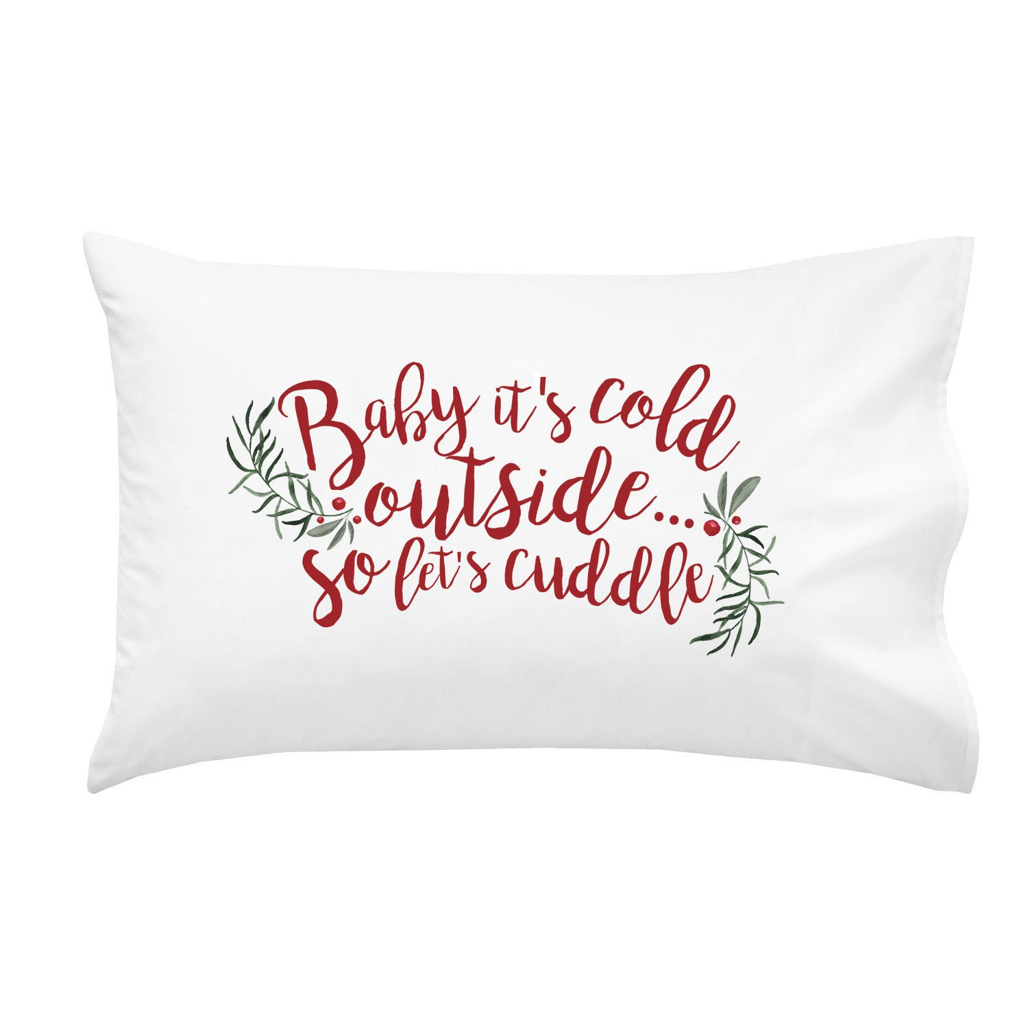Oh, Susannah Baby It's Cold Outside So Let's Cuddle Christmas Pillowcase - Standard Size Pillow Case (1 20x30 inch, Black) by Oh, Susannah