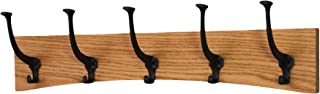 "product image for PegandRail Oak Wall Mounted Coat Rack - Arched Back Design - Black Mission Hooks - Made in The USA (Golden Oak, 25.5"" x 6.5"" - 5 Hooks)"