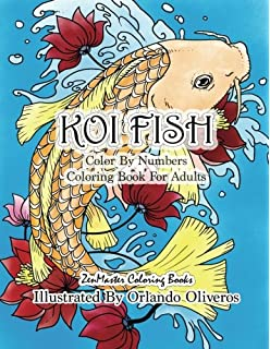 Color By Numbers Adult Coloring Book Of Koi Fish An Japanese
