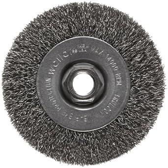 Weiler Trulock Narrow Face Wire Wheel Brush, Threaded Hole, Steel, Crimped Wire