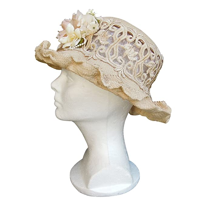 Retro Vintage Style Hats  Lace Straw Cutaway Hat Narrow Brim Ladies Cloche Church $45.00 AT vintagedancer.com