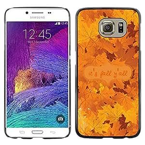 FECELL CITY // Duro Aluminio Pegatina PC Caso decorativo Funda Carcasa de Protección para Samsung Galaxy S6 SM-G920 // Autumn Leaves Tree Golden Brown Maple