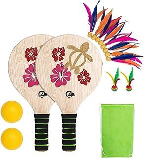 Beach Paddle Set Raquette en Bois Beachball Raquette Badminton Entraînement Battledore Famille Jeu Ballon Kit pour Enfants Bureau des Enfants Intérieur Sports de Plein Air Adolescents Adultes Adultes