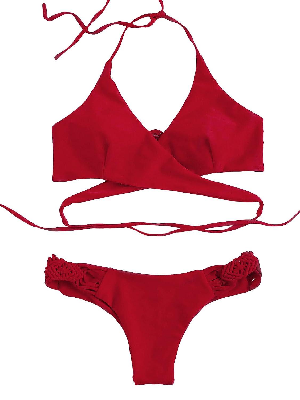 SOLY HUX Bikini Halter con diseño Cruzado y Croché, S-L