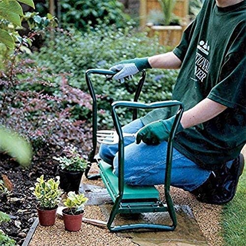 Evenlyao Kniebank, Kniehilfe Gartenarbeit, Garten Arbeitshocker Mit Arbeitstaschen, Klappbar, Eva-Schaumkissen Stahlrohr, Fur Knieschutz