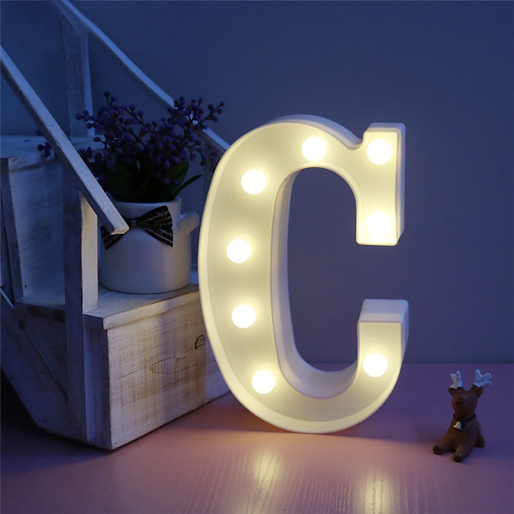 CSKB LED Marquee Letter Lights 26 Alphabet Light Up Marquee Letters Sign For Wedding Birthday Party Battery Powered Christmas Night Light Lamp Home Bar Decoration C