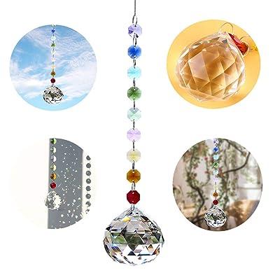 Crystalsuncatcher Crystal Sphere Sun-Catcher Hanging Ornament Chakra Rainbow Window Decoration : Garden & Outdoor