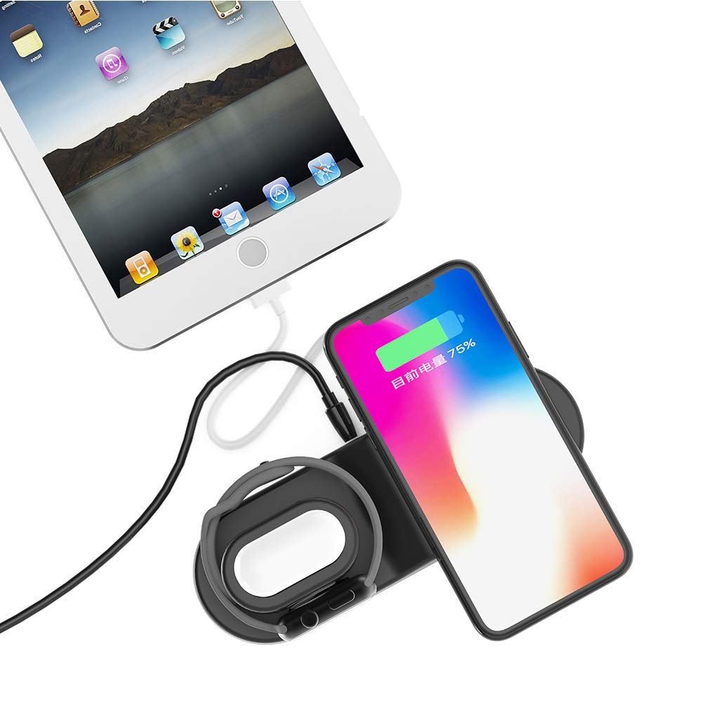FACEVER 36W 3 in 1 Wireless Charger Station with USB Output, Fast Qi Wireless Charger Compatible with Apple Watch iWatch Airpods iPhone Xs MAX XR X 8 Plus, Samsung S9 S8+, Qi-Enabled Devices -Black by FACEVER (Image #6)
