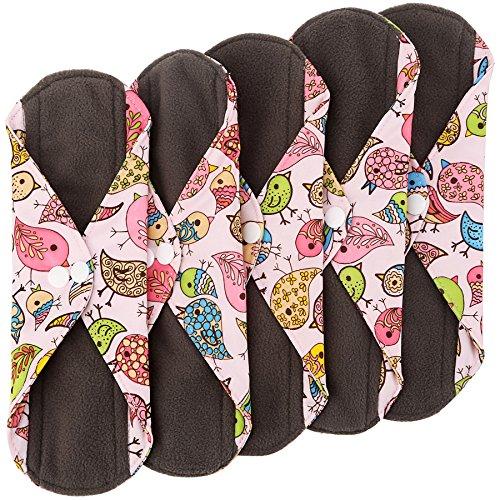 Wegreeco Bamboo Reusable Sanitary Pads - Cloth Sanitary Pads - Pack of 5 (Small, Lovely Bird)