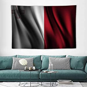HoMdEfW Fabric Wall hangings Flag of Malta Bedspread Bedroom Living Kids Girls,Great Decoration for Your Bedroom,Living Room 84W x 70L inch