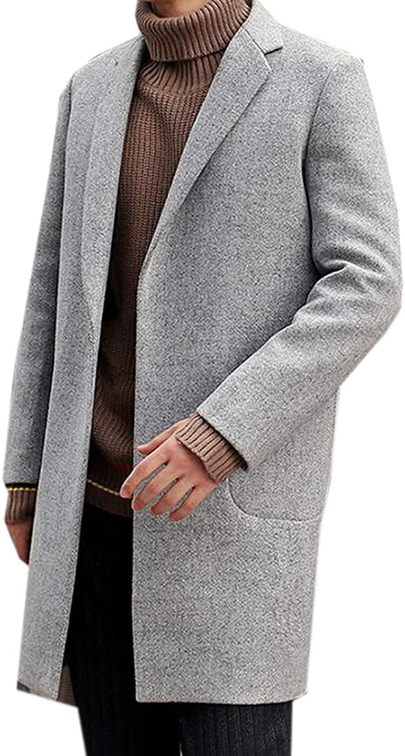 Jofemuho Mens Regular Fit Longline Lapel Autumn Winter Wool Blend Trench Pea Coat Overcoat Light Grey XS