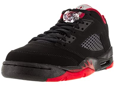 new arrival 25253 bc8a9 Nike Boys Air Jordan 5 Retro Low (GS) Alternate Black Gym Red Leather