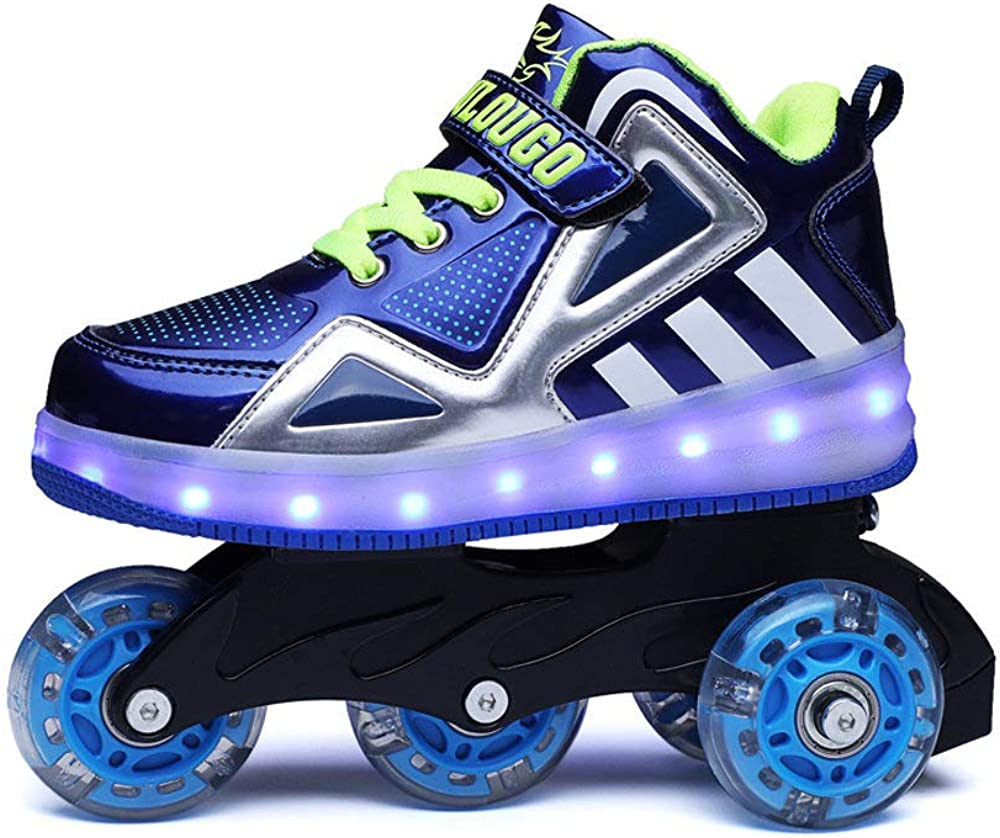 AIkuass USB Rechargeable LED Light Up Child s Inline Skates Can Be Sneakers for Kids Boys Girls