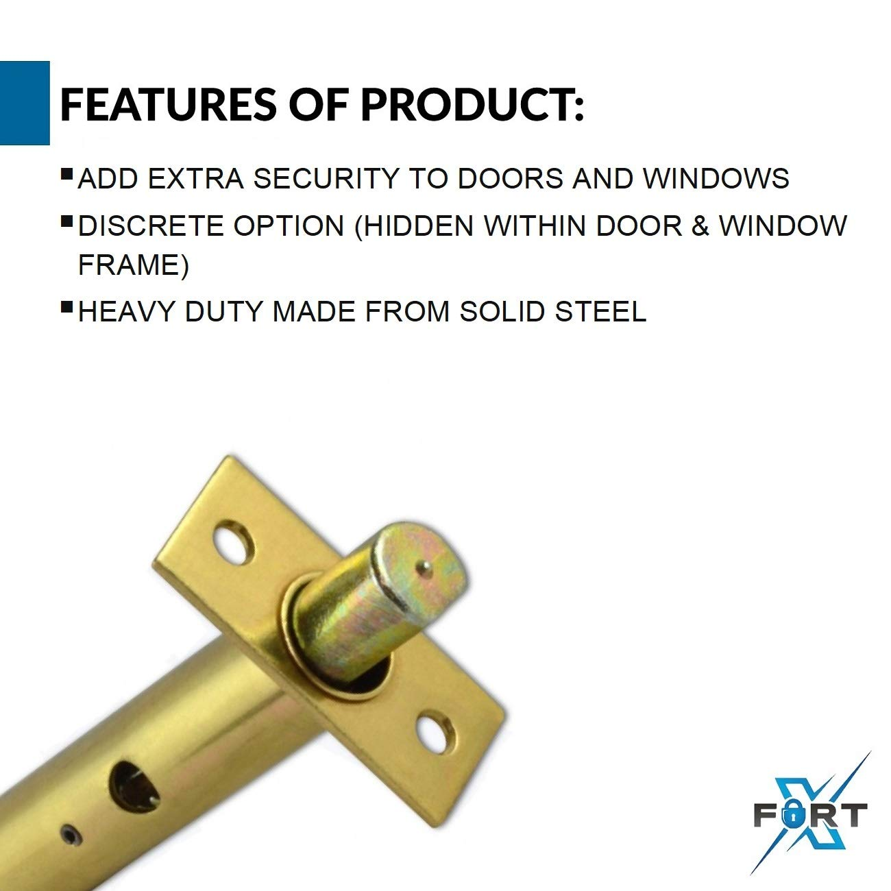 XFORT® 2 Pack Mortice Door Bolts with 2 Star Keys Door Security Rack Bolt for
