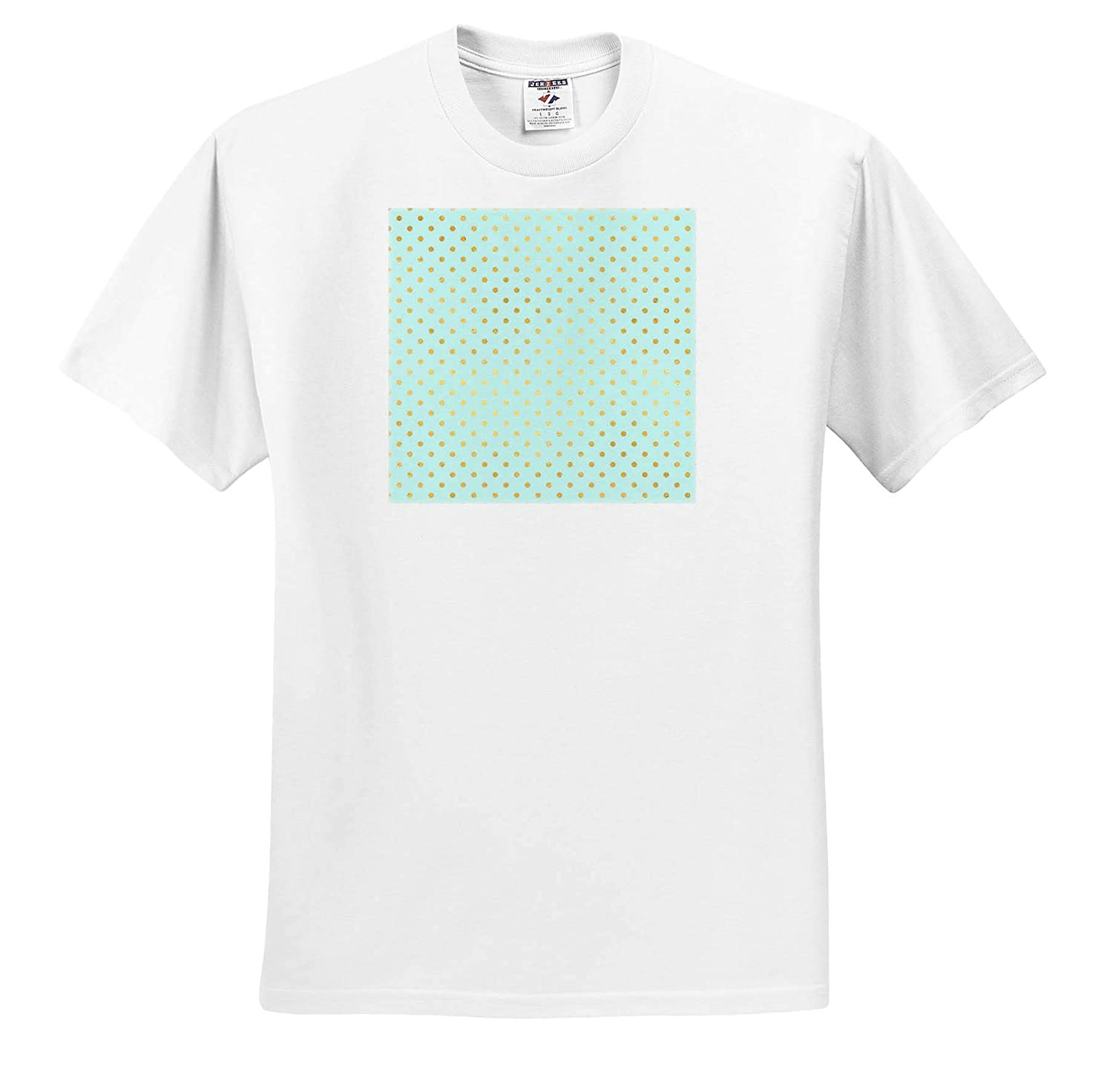 3dRose Anne Marie Baugh Cute Gold Color On Mint Green Polka Dot Pattern T-Shirts Patterns