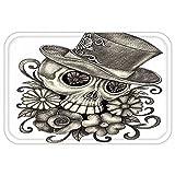 VROSELV Custom Door MatDay Of The Dead Decor Sketchy Mexican Spanish Festive Celebration Skull Head FlowerDimgrey and White