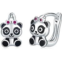 Pendientes de aro de plata de ley 925 con Panda, 10 mm de diámetro Pendientes Panda para Mujeres y Niñas Pendientes…