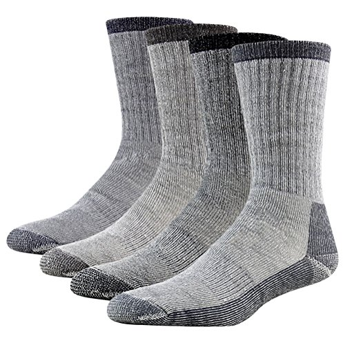 Full Cushion Socks, RTZAT Unisex Premium Merino Wool Thick Thermal Super Comfy Sweat-Absorption Athletic Crew Hiking Socks 2 Pairs Large, 1 Black, 1 Grey by RTZAT