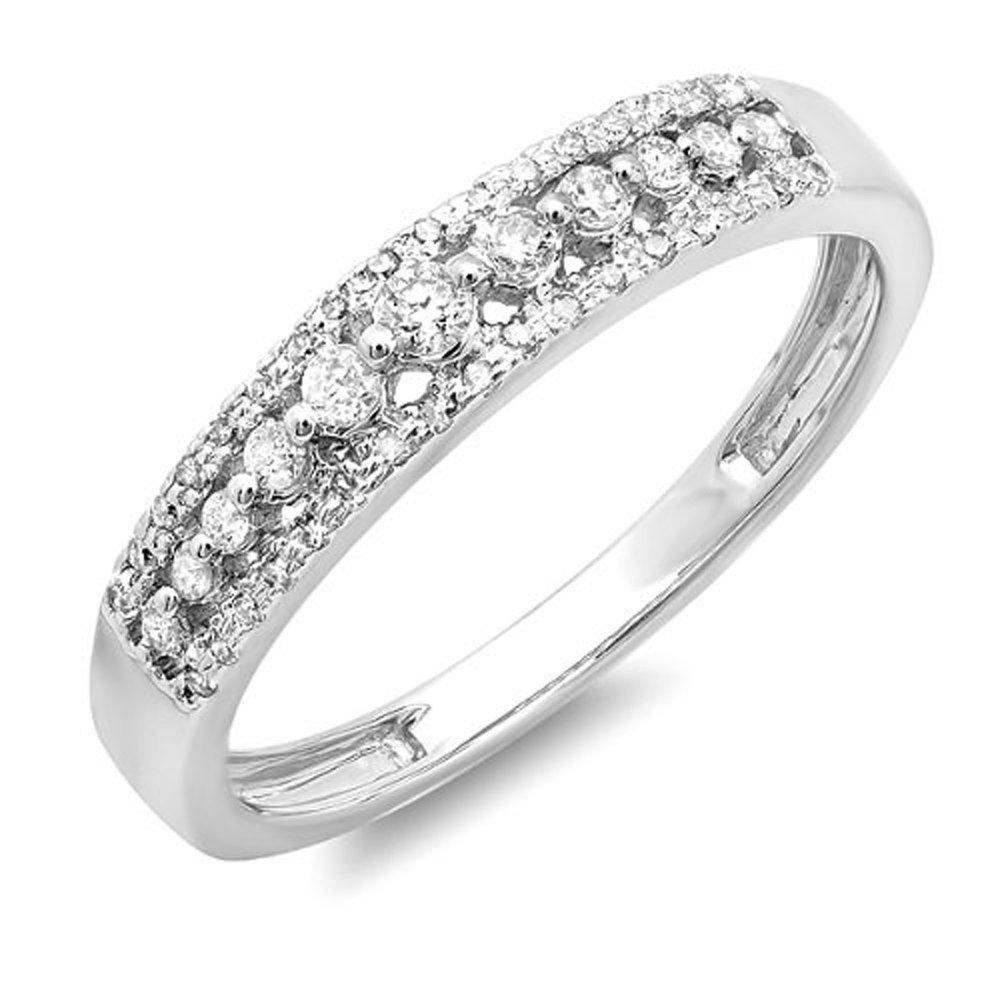 0.25 Carat (ctw) 14k White Gold Round Diamond Ladies Anniversary Wedding Band Ring 1/4 CT (Size 8)