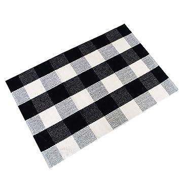 Amazoncom Ustide 100 Cotton Blackwhite Hand Woven Checkered