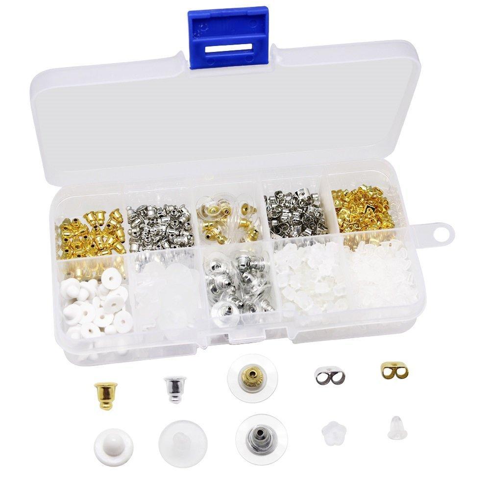 Bullet Earring Backs Kit Earring Backs Kit Clear Earring Back Rubber Safety Back, 450 PCS Erlvery DaMain
