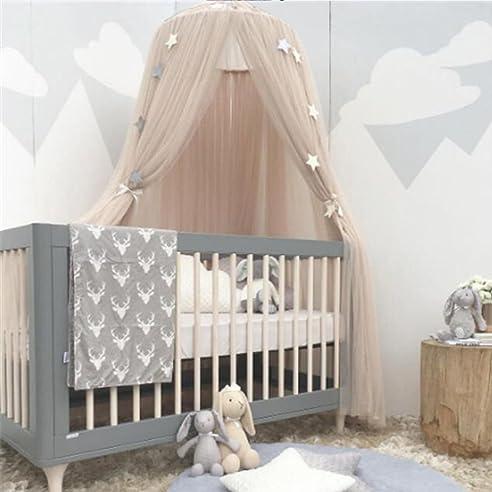 leezeshaw dome betthimmel moskitonetz vorhnge zelt mit sternen fr mdchen kleinkinder und baby kinder polyester - Betthimmel Vorhnge