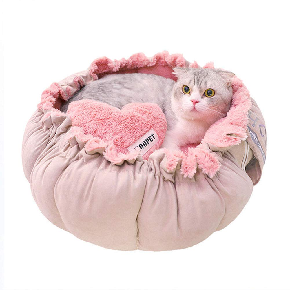 Kennel Cat Bed, Four Seasons Universal Lace Cat Nest for Small Dogs and Cats, Warm Comfortable - Hand Wash,M