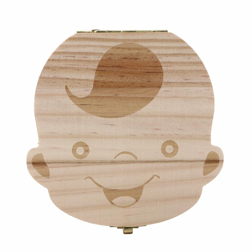 ZYooh Baby Teeth Save Box, Cute Personality Wood Storage Box for Boy and Girl