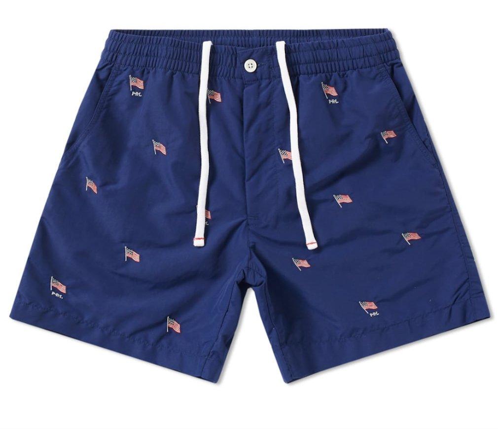Polo Ralph Lauren Mens USA Flag Tunk Swim Shorts (XL, Navy)