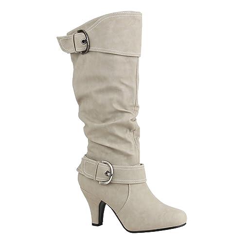 Blockabsatz Klassische Flandell Stiefel Damen Stiefelparadies Mit Schnallen YgyvI6bf7